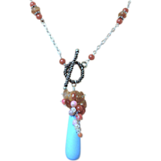 SALE Sunstone Coral blue Peru Quartz embellished necklace SET Camp Sundance