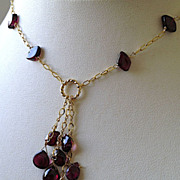 SALE Garnet Cascade Gold filled necklace Camp Sundance