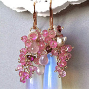 SALE Rose Gold filled Opalite Topaz earrings Camp Sundance blushing bride