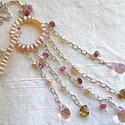 REDUCED Pearl Eternity Silver necklace Garnet Topaz Camp Sundance toggle