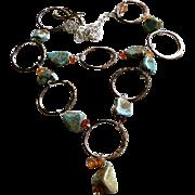 SALE Turquoise Necklace Silver Bronze Carnelian Gem Bliss