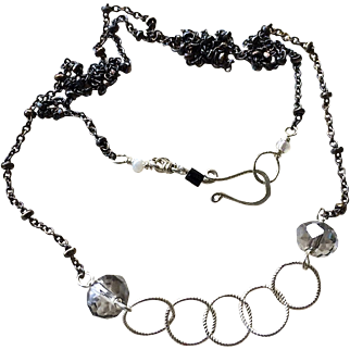 SALE Silver necklace 18 inch Layering necklace bright and dark Gem Bliss