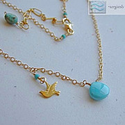 SALE Turquoise Necklace bird charm Sleeping Beauty 14k gold filled necklace Gem Bliss