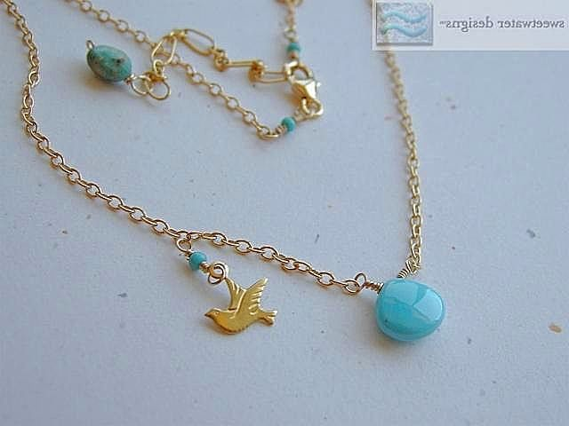 Turquoise Necklace bird charm Sleeping Beauty 14k gold filled necklace Gem Bliss