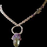 Green Amethyst necklace, cluster pendant, Silver Prasiolite necklace, Camp Sundance jewelry