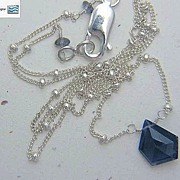 SALE Rare unusual 5 sided Iolite briolette Sterling Silver Camp Sundance necklace