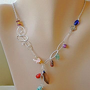 SALE Forged Copper Leaf asymmetrical gems and beads charms Silver necklaces