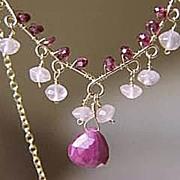 SALE Ruby Rhodolite Garnet Rose Quartz Scroll necklace 14k Gold filled Camp Sundance