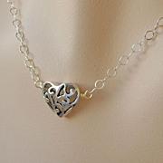 Heart solitaire Pierced Silver adjustable Camp Sundance necklace