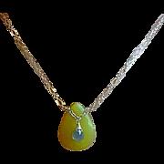 Embellished Olive pendant, Olive jade necklace, Labradorite, Camp Sundance, Gem Bliss