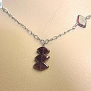 Red Garnet trio necklace antiqued Sterling Silver pendant Camp Sundance