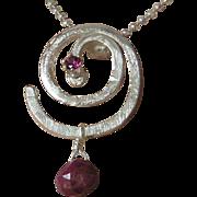 Silver Ruby Necklace, Rhodolite Garnet necklace, Sterling silver spiral, Camp Sundance, Gem Bl
