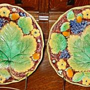 Matching pair majolica Samuel Alcock plates