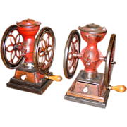 Pair antique small Enterprise coffee mills dated 1872