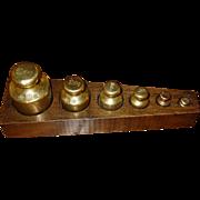 Unusual 6 German brass scale weights & case