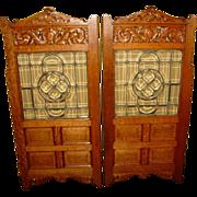 Super pair quartered oak tavern doors-leaded glass