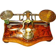 Exceptional hand engraved brass postal scales w weights
