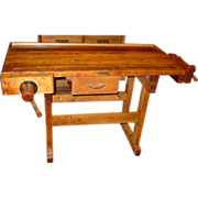 Neat Christiansen carpenter's work bench w 2 vises