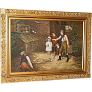 Oil on canvas-5 Victorian children training pigeons-Burr