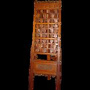 Antique Quartered oak fancy Victorian carved easel