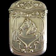 Sterling silver match safe vesta---horses head