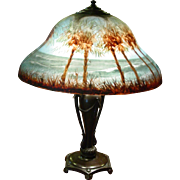 Exceptional Classique reverse painted table parlor lamp