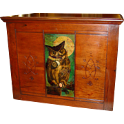 Willimantic 6 drawer spool cabinet with owl-raised panel sides