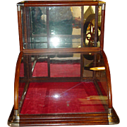 Quartered oak curved glass tower display case