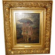 Pair antique oil on canvas---Albert Rosenboom