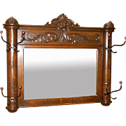 Quartered oak hall mirror with hat coat hooks
