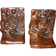 Pair bronze bookends Native American Indian Weidlich Brothers
