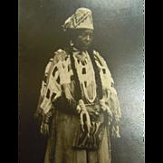 Original Antique Black & White Photograph Postcard of Important Native American Woman