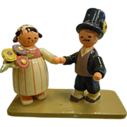 """Vintage """"Old World Christmas"""" Painted Wooden Diorama Figurine - Made In Germany"""