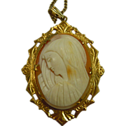 Antique Hand Carved Virgin Mary Natural Shell Cameo Intricate Gold Filled Pendent