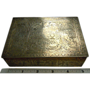 Exceptionally Engraved Antique Silverplated Dutch Cedar Inlaid Box