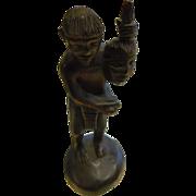Vintage Hand Carved Dark Wood Head Hunter Figure