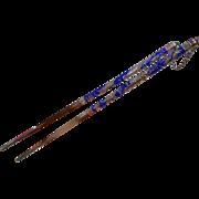 Fine Enameled Chinese Silver Chopsticks w/ Embellished Dragon Design