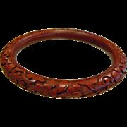 Intricately Carved Floral Design Natural Cinnabar Bangle Bracelet