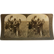 "Vintage Keystone Stereo View Card - ""Indians Talking in Sign Language"""
