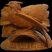 Vintage Light Wood Carved Pheasant Bird Figure