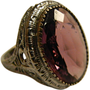 Vintage Sterling Silver Filigree Ring w/ Faceted Purple Glass