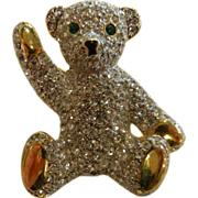 Vintage Rhinestone Costume Jewelry Brooch Teddy Bear