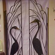 One Of Kind Asian Art Deco Metal Iron Crane Bird Decor Gates