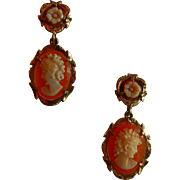 Sunning Vintage 14K Gold Screw-Back Earrings w/ Hand Carved Cameos