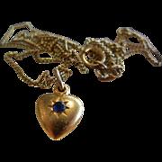 Fine Vintage Gold-Tone Heart Charm w/ Blue Rhinestone & Embellished Saint Bernadette Mother ..