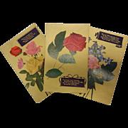 Lovely Old Set of 3 Vintage Floral Postcards w/ Inspirational Poems