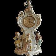 Decorative Vintage German Porcelain Figurine & Floral Decor Clock