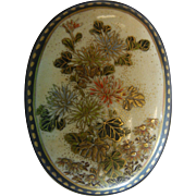 Antique Hand Enameled Satsuma Porcelain Belt Buckle w/ Gilded Floral Design