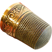 Fine Sterling Silver & Gold Thimble Size: 12
