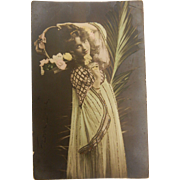Vintage Original Photograph Colorized Postcard of a Girl Maiden with Flowers